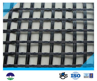 الصين 80KN/M fiberglass أسود Geogrid مع high-strength ل يحتبس جدار المزود